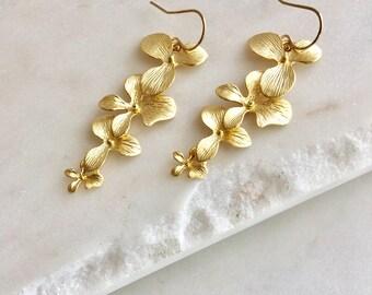 Bridesmaid Earrings Gold Orchid Earrings Bridesmaid Gift for Her Wedding Earrings Long Earrings Anniversary Gift for Wife Bridal Earrings