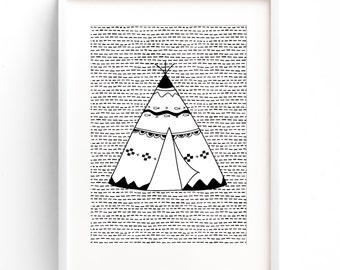 Teepee Nursery Print - Monochrome Nursery Prints - Kids Boys Baby Room Wall Art - A4 A3 - Monochrome - Black & White - Tribal - Teepee