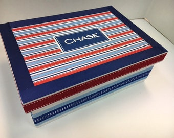 Red White and Blue Personalized Keepsake Box