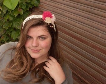 Headband with Lace Rosettes and Pearls