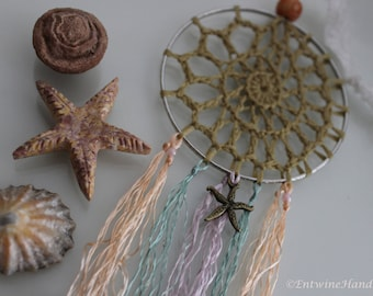 Handmade Crochet Decorative Dream Catcher - Mermaid Starfish Charm Boho Hippie Hippy Pastel Sea Fossil