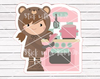 Toffee the bear girl COOKING planner stickers || Erin Condren Life Planner, Kikki K, Plum Paper Planner