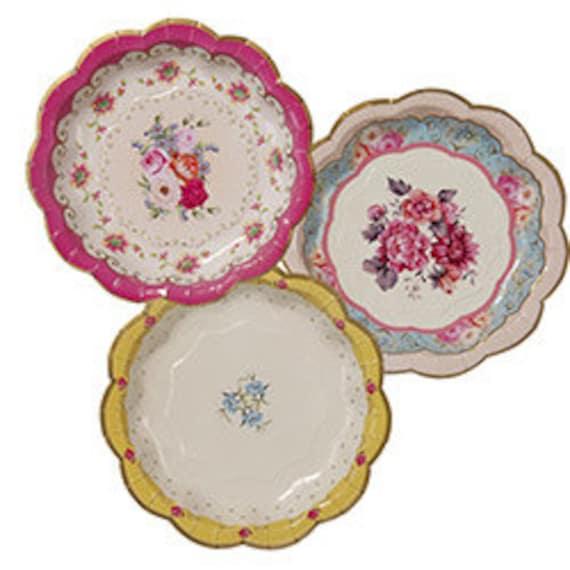 $4.41  sc 1 st  Etsy Studio & Vintage look paper plates tea party paper plates garden tea party ...