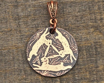 Copper Celtic rabbits pendant, etched and antiqued Celtic knotwork jewelry, optional necklace, 25mm
