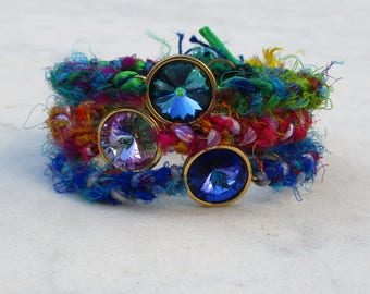 Swarovski crystal bracelet, boho braided sari silk bangle bracelet, ethnic braided stacking bracelet, crystal yarn cuff, bohemian armband
