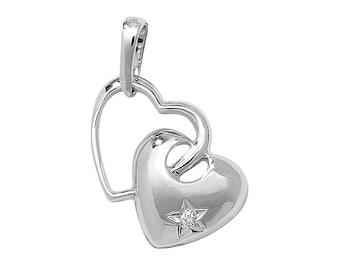 9ct White Gold Double Heart Pendant With Single Star Set Diamond Hallmarked