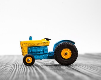 Vintage Blue and Yellow Tractor on White and Grey Photo Print, Wall Decor, Playroom decor,  Kids Room, Nursery Ideas, Gift Ideas,