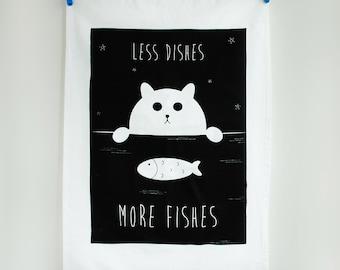 Cat Tea Towel, Fat Kitty Cotton, Homeware, Houseware, kitchenware, textile design, gift for Mum