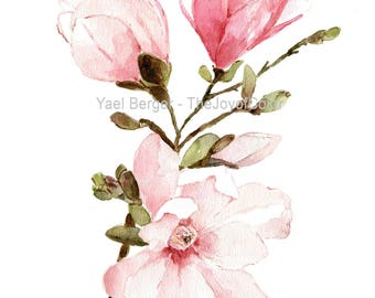 Magnolia watercolor painting, Mongolia flowers watercolor, pink floral art, Mississippi flower, Magnolia botanical watercolor, flowers art