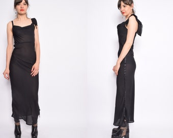 Vintage 90's Black Sheer Mesh Maxi Dress / See Through Strappy Long Dress - Size Small