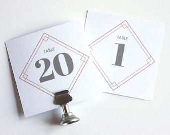Geometric Diamond Square Wedding Table Numbers - Art Deco Wedding - Custom 1-25 Table Numbers - Digital Printable