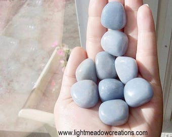Beautiful Medium- Large Angelite Polished Stones -High Grade