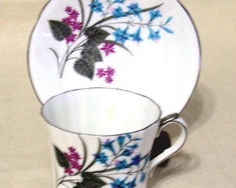 Vintage Society Fine Bone China,Fluted  Cup & Saucer, Bluebell Flowers