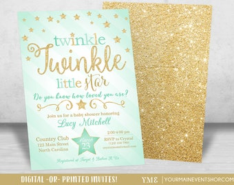 Twinkle Twinkle Little Star Baby Shower Invitation, Twinkle Twinkle Shower Invitation, Mint and Gold Star Invitation, Neutral Baby Shower