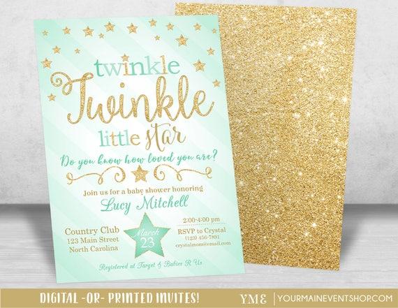 Twinkle Twinkle Little Star Baby Shower Invitation, Twinkle Twinkle Shower Invitation, Mint and Gold Star Invitation, Neutral Baby Shower