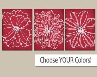 RED Flower WALL Art, CANVAS or Prints, Floral Red Bathroom Wall Decor, Red Home Decor, Floral Red Bedroom Decor, Red Wall Decor, Set of 3