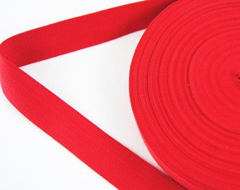 Carrying strap - belt - tape - binding tape - cotton - red