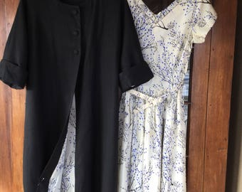 Vintage Silk Prom Dress and Matching Silk Lined Linen Coat Retro 1950 Size 6 Wedding