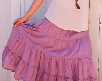 Gauze Gypsy Tiered Skirt in LAVENDER // Pockets, Natural Fiber, Flexible Waistband / Breathable Elegance!