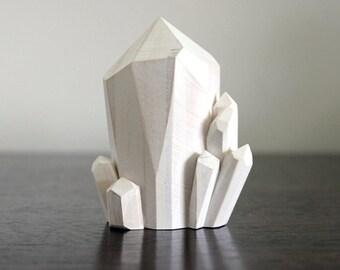 Handmade Faceted Wood Quartz Crystal Point Sculpture