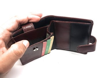 RFID BLOCKING Genuine Brown Nappa Leather 2-In-1 Business Card Holder Wallet For Mens   Holds Up To 3 Credit  And 30 Business Cards #BR-7864