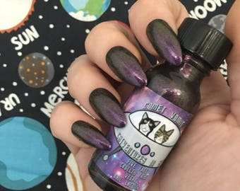 Kitty's Comet gold to purple duochrome nail polish vegan