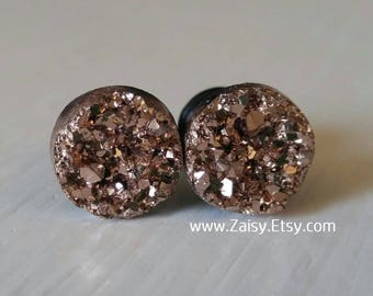 Rose Gold Crystal Plugs for Gauged Ears, sizes 00g, 0g, 2g, 4g, 6g, earrings, 10mm, 8mm, 6mm, 5mm, 4mm CHOOSE YOUR COLOR, One (1) Pair