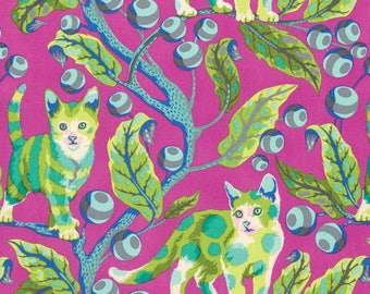 FREE SPIRIT Tabby Road PWTP092-BERR Berry Disco Kitty by Tula Pink