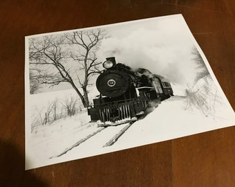 Vintage Black and White Train Photograph