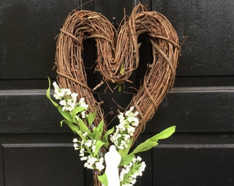 NEW Wedding Wreath, Bridal Decor, Wedding Decor, Heart Grapevine Wreath, 18 in  Wedding Wreath, Bridal Wreath, Wedding Decoration W-7