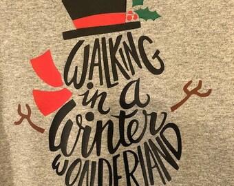 Walking in a Winter Wonderland Snowman Long Sleeve Shirt