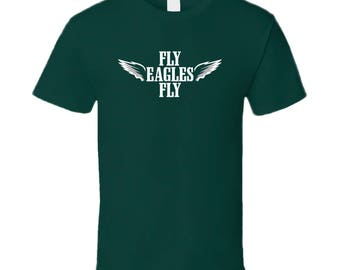 Cool White Wings Fly Fly Philadelphia Football T Shirt
