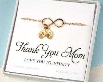 Custom monogram infinity bracelet,Mother Day,Mother of groom,Gift for mom,mother in law gift,grandma nana gift,Kid initials,custom note card