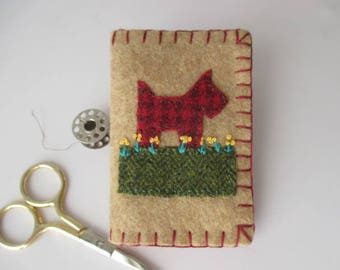 Needle Book/Needlebook/Needle Holder Scotty Dog in Red/Yellow/Tan