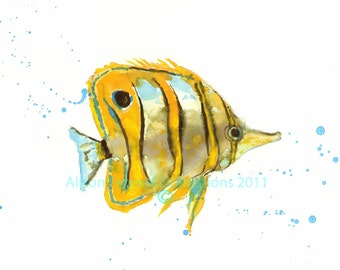 TROPICAL Fish print,  fish painting, fish print, fish gift for him,