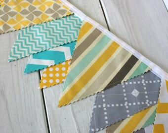 Fabric Banner Baby Boy Nursery Decor Baby Shower Fabric Bunting Nursery Bunting Garland Bunting Yellow Gray Mint Green Grey Teal