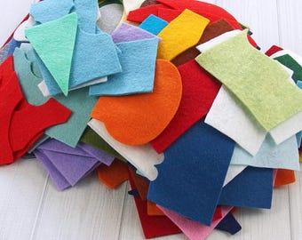 Felt Grab Bag, Felt Remnants, 4 oz., Assorted Colors, Mixed Scraps, Wool Blend Felt