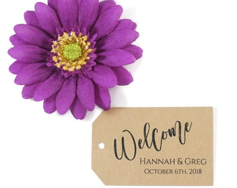 Welcome Bag Tags (20pc) - Kraft Brown Thank You Labels - Wedding Thank You Tag - Personalized Escort Cards - Bride and Groom Customized Tags
