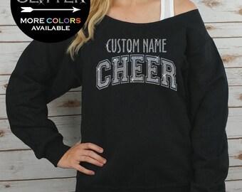 Custom Cheer Off Shoulder Raw Edge Sweatshirt for Women GLITTER // Coach Sweatshirt, Cheer Shirt, Cheerleader, Plus Sizes (Silver Glitter)