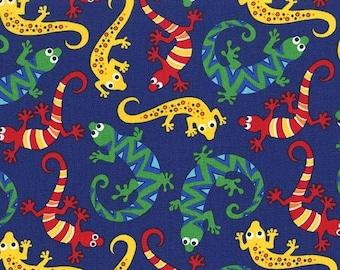Lizards Navy Scaly Michael Miller Fabric 1 yard