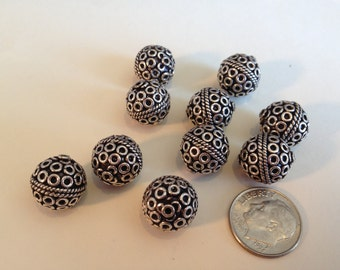 Genuine Bali Sterling Silver Oxidized 13mm Dot and Rope Design Beads, Sterling Silver Beads, Jewelry Supplies