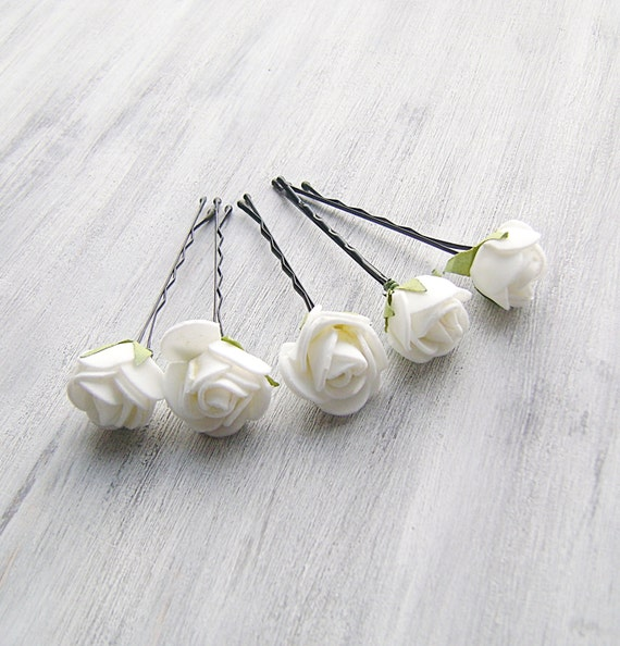 White flowers bobby pins roses bridal hair pins woodland white flowers bobby pins roses bridal hair pins woodland bridal hair clip flower clips wedding hair accessory set of 5 mightylinksfo Image collections
