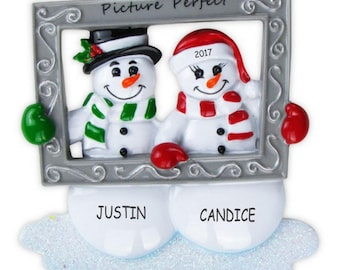 Personalized Mr and Mrs Snowman Couples Christmas Ornament