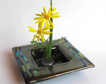 Fused Glass Ikebana - Iridized Glass Flower Vase - Fused Glass Bowl - Dichroic Glass Vessel -  Iridized Glass Ikebana - Art Glass Bowl