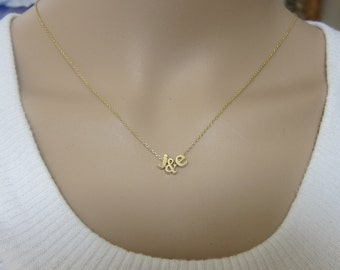 Two Lowercase Initial Necklace, Gold initial necklace,Letter Necklace, His and Her Necklace, Boyfriend Girlfriend Jewelry,