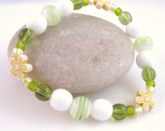 Yellow and Green Large Girls Bracelet with Yellow Flowers, GBL 107
