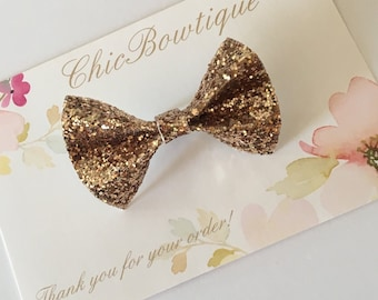 Gold Chunky Glitter Mini Butterfly Bow