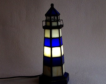 Lighthouse Lamp. RARE! Vintage Blue And White Glass Lamp In A Form Of A