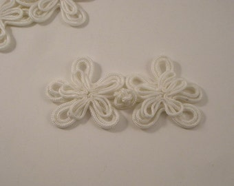 Winter White Floral Design Frog Closure--One Set
