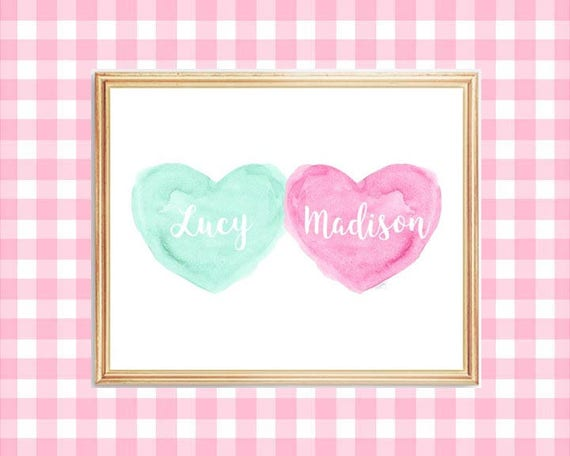 Pink and Mint Sister Nursery Print, 8x10 Personalized